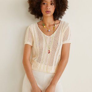 Mango V-neck Casual Open-knit Summer Top